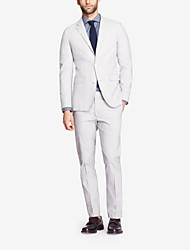 Off-White Solid Tailored Fit Suit In Cashmere&Wool Two-Piece