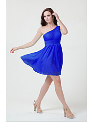 Short/Mini Chiffon Bridesmaid Dress Sheath/Column One Shoulder