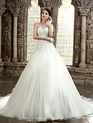 A-line Petite / Plus Sizes Wedding Dress Chapel Train Strapless / Sweetheart Satin with