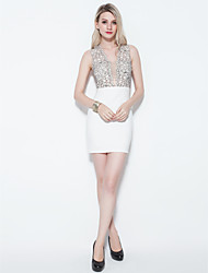 Cocktail Party Dress - Ruby / Ivory Plus Sizes / Petite Sheath/Column Straps Short/Mini Lace / Jersey