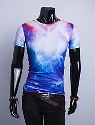 Herren T-shirt-Druck Freizeit Baumwollmischung Kurz-Mehrfarbig