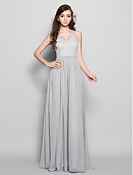 Floor-length Chiffon Bridesmaid Dress - Silver Sheath/Column V-neck