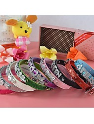 New Pu Leather Jewel Buckle 10 MM Personalized Collar (Price Exclude Letter) for Dogs and Pets (Assorted colors,Sizes)