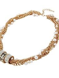 Fashion  White Pearls Gold Rhinestone Necklaces Random Color