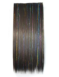 24 Inch Clip Straight Dazzle Hairpieces Synthetic Extensions (Black)