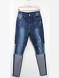 Women's Blue Cotton/Denim Pant , Casual