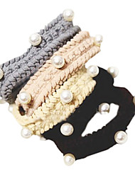 doux liens de cheveux de tissu multicolore pour les femmes (noir, café, gris) (1 pc)
