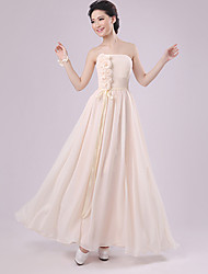 Sheath/Column Strapless Floor-length Chiffon Bridesmaid Dress