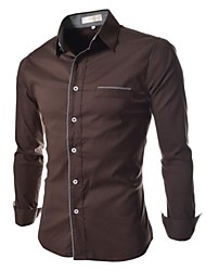 Men's Fashion Luxury Trim Long Sleeve Shirt