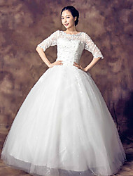 Ball Gown Wedding Dress - White Floor-length Scalloped-Edge Organza