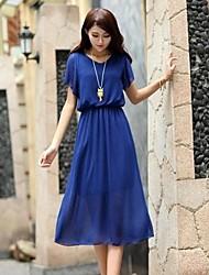 vestidos de las mujeres redondas de moda elegante collar de gasa (más colores)