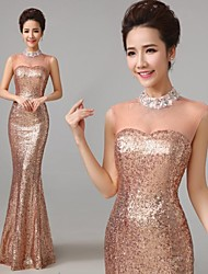 High Neck Transparent Crystal Sequined Mermaid Floor Length Evening Dress