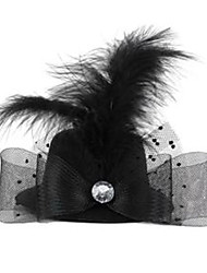 Hat-Shaped With Crystal Feather Mesh Hairpin Black (1Pc)