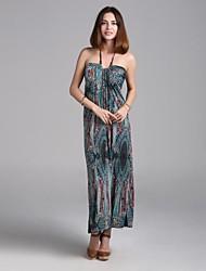 Maxi - Vestido - Sensual/Playa/Impresión/Tallas Grandes - Viscosa/Elástico