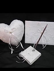 schicke Hochzeit Sammlung in weißem Satin mit exquisiten Stickereien setzen (3 Stück)