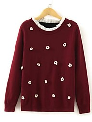Women's Round Collar Printed Long Sleeve Sweater