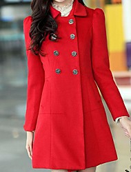 Women's Trench Coat,Solid Long Sleeve Spring / Winter Blue / Red / Brown Wool / Polyester Medium