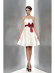 Knee-length Satin Bridesmaid Dress A-line Strapless with