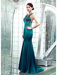 Mermaid / Trumpet V-neck Floor Length Stretch Satin Formal Evening Dress with Beading