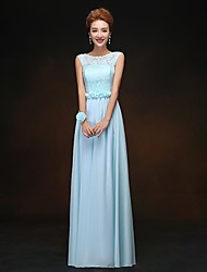 Floor-length Chiffon Bridesmaid Dress - Sky Blue Sheath/Column Scoop