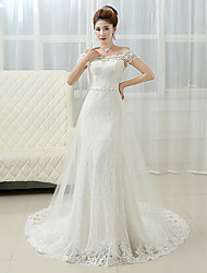 Sheath / Column Wedding Dress - Glamorous & Dramatic Lacy Looks Court Train Off-the-shoulder Lace with Pearl / Beading