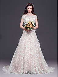 A-line,Princess Court Train Wedding Dress -Scoop Tulle