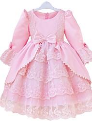 Princess Knee-length Flower Girl Dress - Lace/Satin Long Sleeve