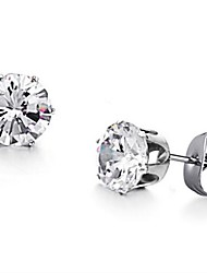 Women's Beautifully Shiny Titanium Steel Zircon Earrings