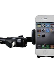 BEBONCOOL Universal 2 USB Car Charger Cradle Mount Holder Stand with Cigarette Lighting Function for IPhone,Samsung,GPS