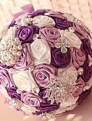 Luxury Purple Bridesmaid Pearl Crystal Wedding Bouquets