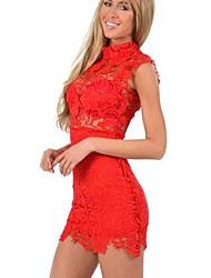 soporte de las mujeres mini vestido, de encaje rojo / blanco / negro sexy / bodycon