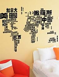 extraíble mapa negro de la etiqueta de la pared en forma de mundo