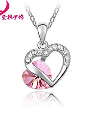 Have mutual affinity Crystal Heart Pendant Necklace XL877