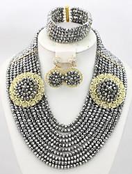 Classic Nigerian Wedding African Beads Jewelry Set Dubai Gold Plated Jewelry Set Women Costume Jewelry Set