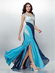 Formal Evening Dress - Multi-color Sheath/Column V-neck Sweep/Brush Train Chiffon