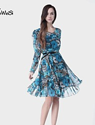 NUO WEI SI®   Women's All Match Floral Print Long Sleeve Dress