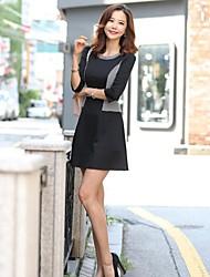 Women's Black Dress , Print/Work Long Sleeve