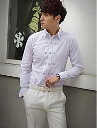 Shirts Classic (Semi-Spread) Long Sleeve Cotton/Polyester Solid White