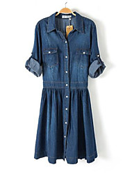 Women's Blue Denim Dress , Vintage/Casual/Work Long Sleeve