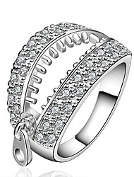 Ring Zirkon Kubikzirkonia versilbert Simple Style Silber Schmuck Alltag 1 Stück