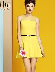 Women's Blue/Yellow Dress , Sexy Sleeveless