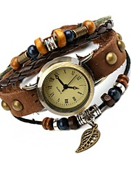 Women's Retro Fashion Leather Hot Leaf Bracelet Watch Cool Watches Unique Watches
