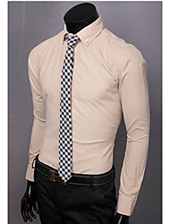 Men's Long Sleeve Shirt , Cotton Casual/Work/Formal Pure
