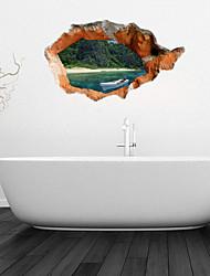 Pegatinas de pared de etiquetas de la pared 3d, blanco baño canoa pegatinas pared de la decoración mural de pvc