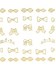 1PC 3D Nail Art Stickers Nail Wraps Nail Decals Gold Bowknot French Tips Nail Polish Decorations