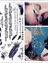 Fashion Personality Sexy Feather Tattoo Stickers Temporary Tattoos(1 pc)
