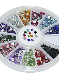 600pcs 12 kits couleur acrylique carré diamant nail art de décoration