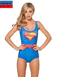 CMFC®Women's Sexy Elasticated Swimwear Superman Suit Printed Bodycon Jumpsuit Hot Bikini Top One Piece