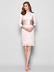 Lanting Bride® Sheath / Column Plus Size / Petite Mother of the Bride Dress Knee-length 3/4 Length Sleeve Chiffon withSash / Ribbon /