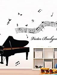 pared calcomanías pegatinas de pared, pvc de piano pegatinas de pared